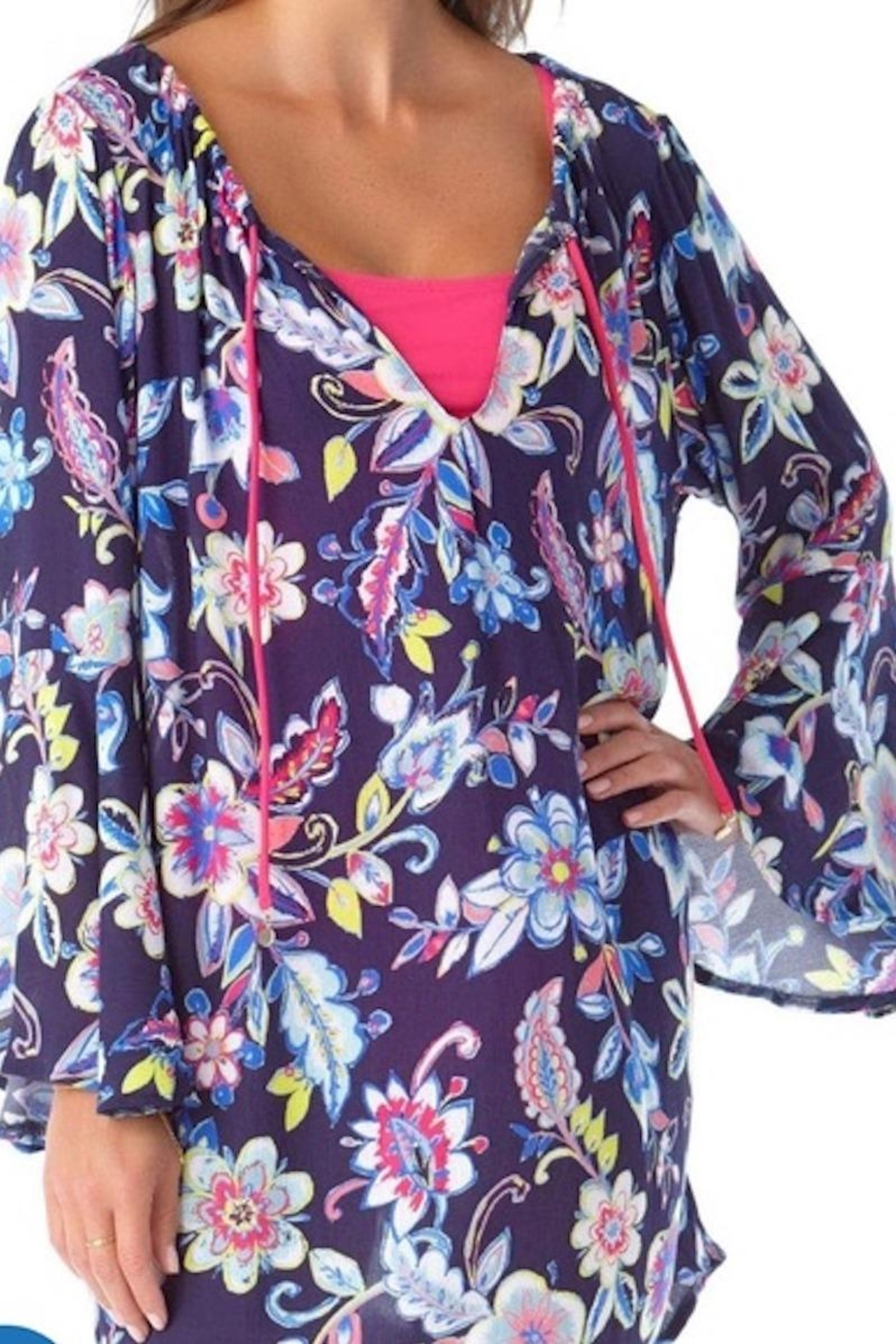 Anne Cole Ac Bell Sleeve Tunic - Front Full Image