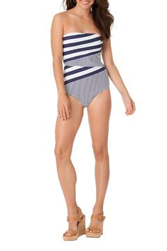 Shoptiques Product: Asymmetrical Stripe Swimsuit