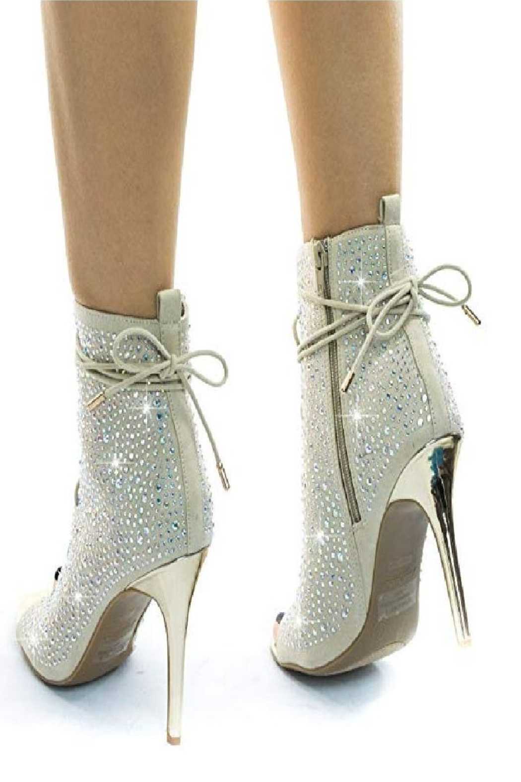 anne michelle Anne Michelle Royals-58s Rhinestone High Heel Silver - Back Cropped Image
