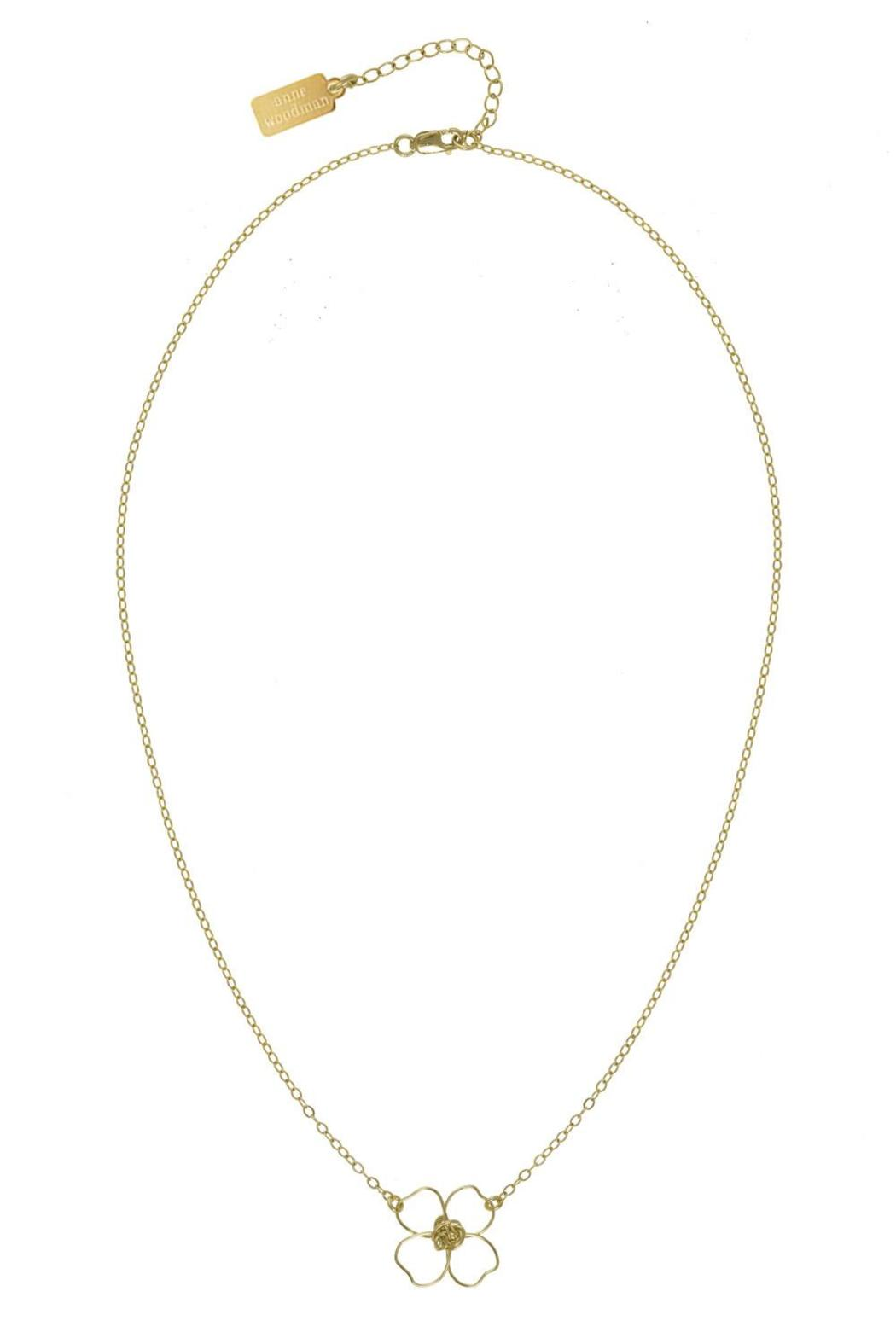 Anne Woodman Gold Clover Necklace - Front Cropped Image