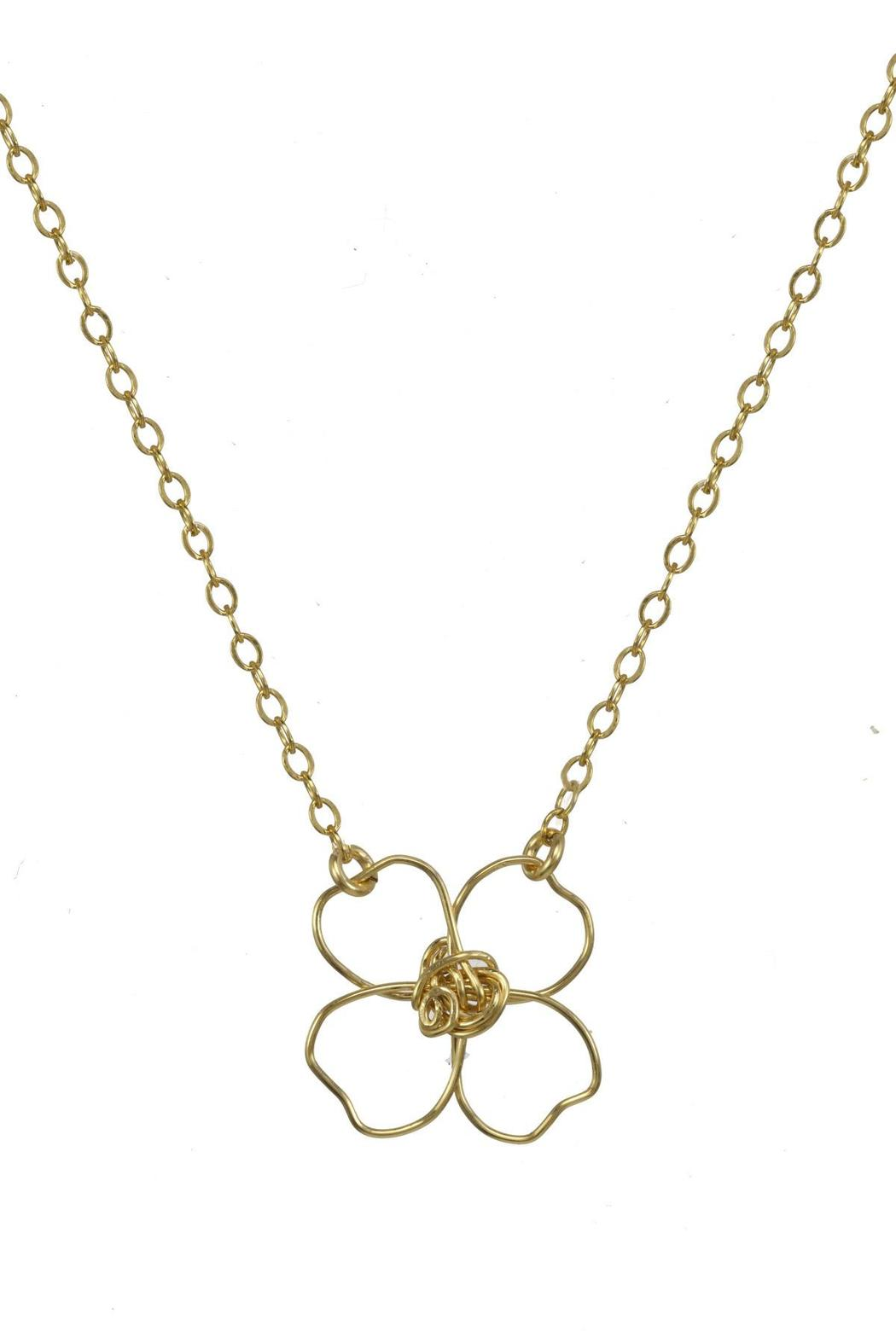 Anne Woodman Gold Clover Necklace - Front Full Image