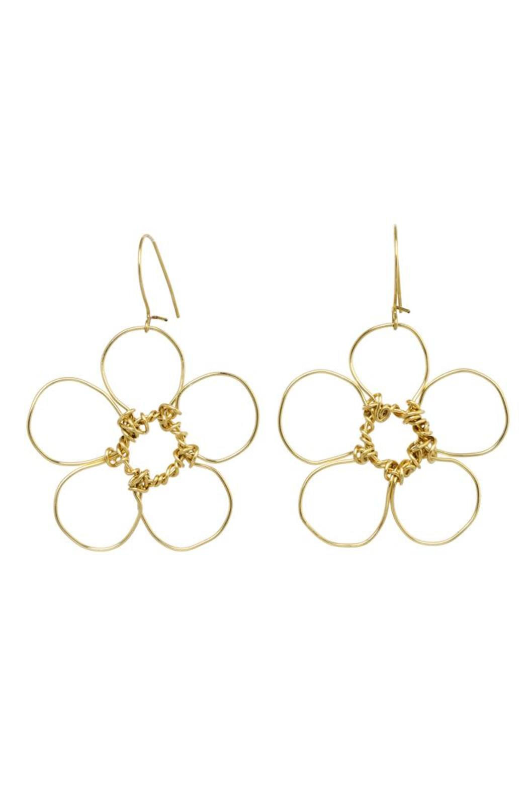 Anne Woodman Gold Flower Earrings - Main Image