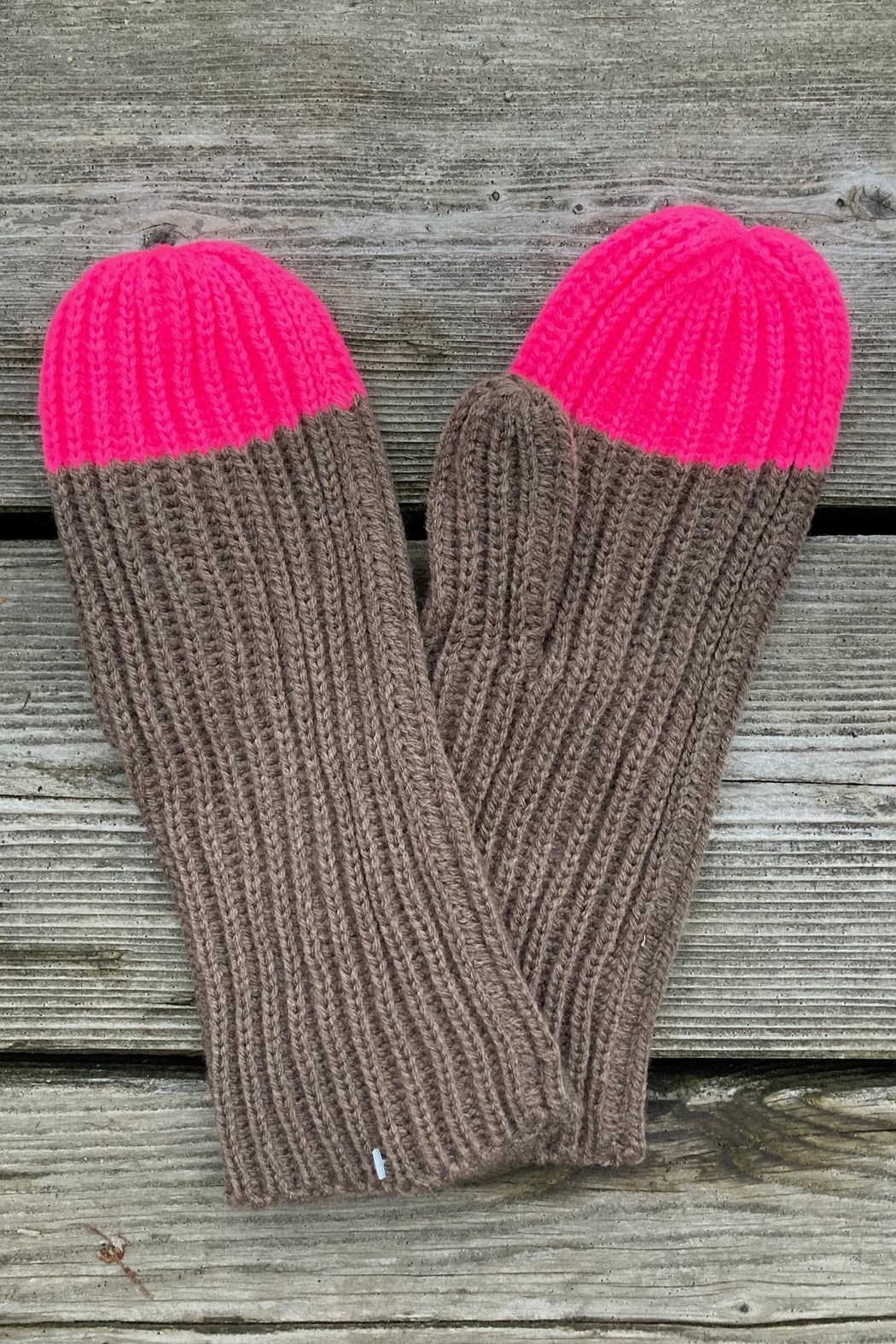 Anne Woodman Pink Tipped Mittens - Main Image