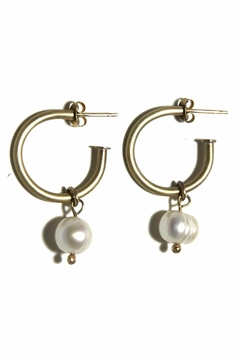 Anneaux Bleus Jewelry Large Pearl Hoops - Alternate List Image