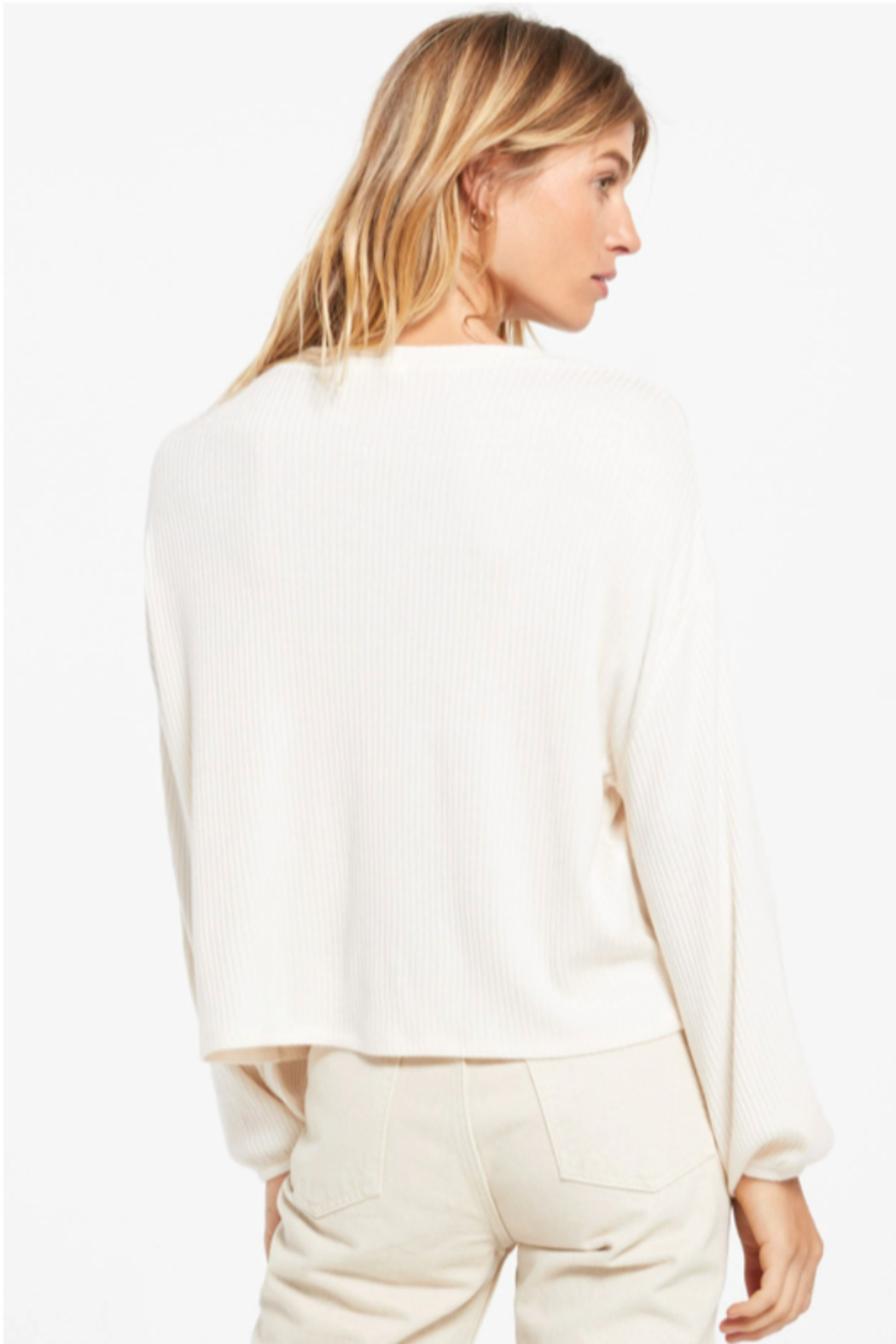 z supply Annie Rib Long Sleeve Top - Side Cropped Image
