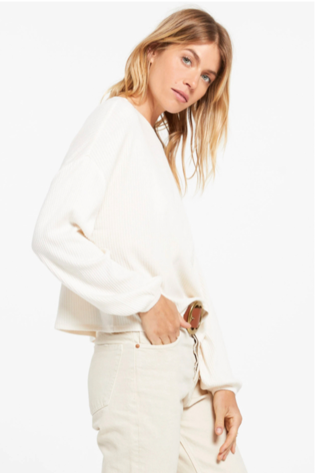 z supply Annie Rib Long Sleeve Top - Back Cropped Image