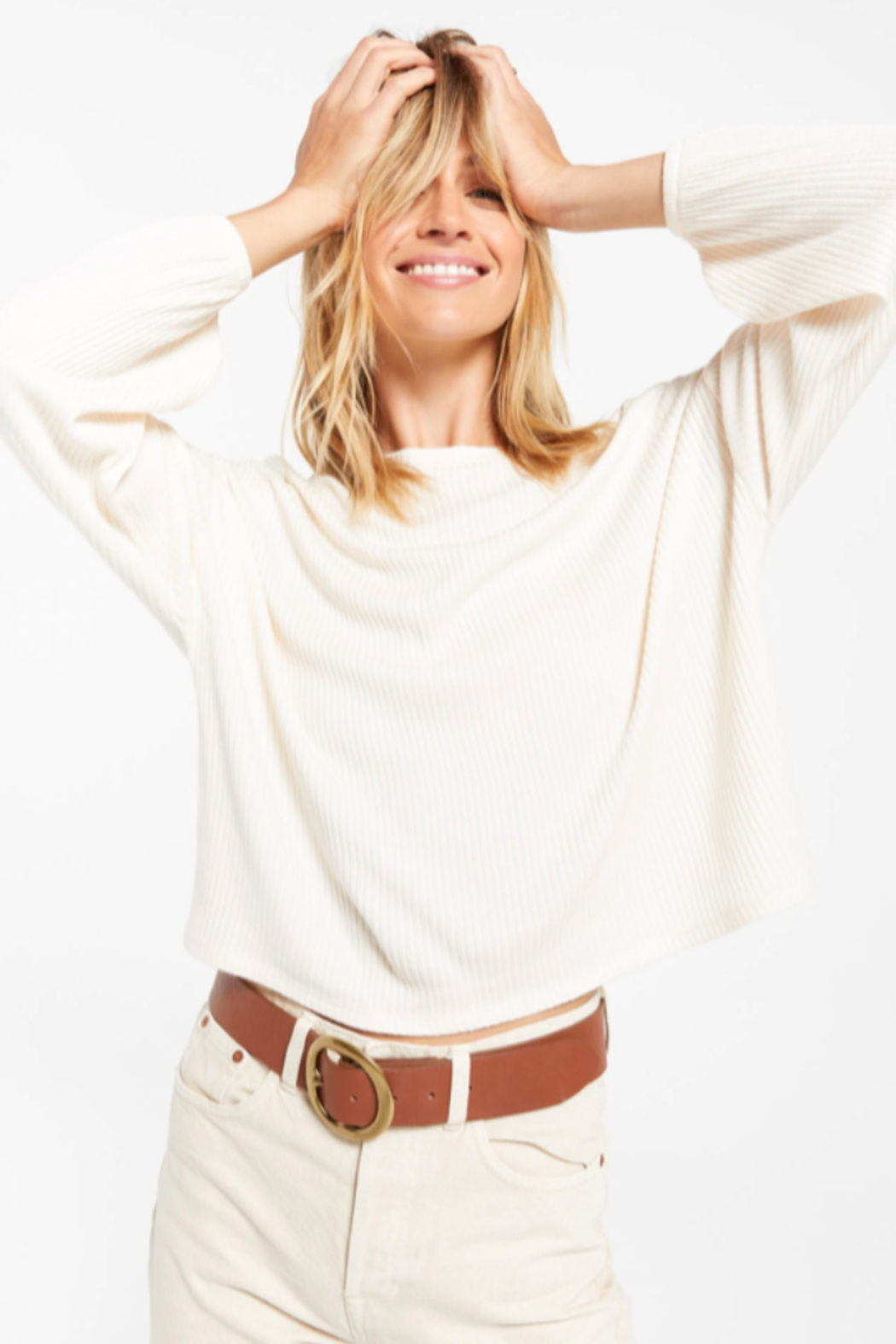 z supply Annie Rib Long Sleeve Top - Front Full Image