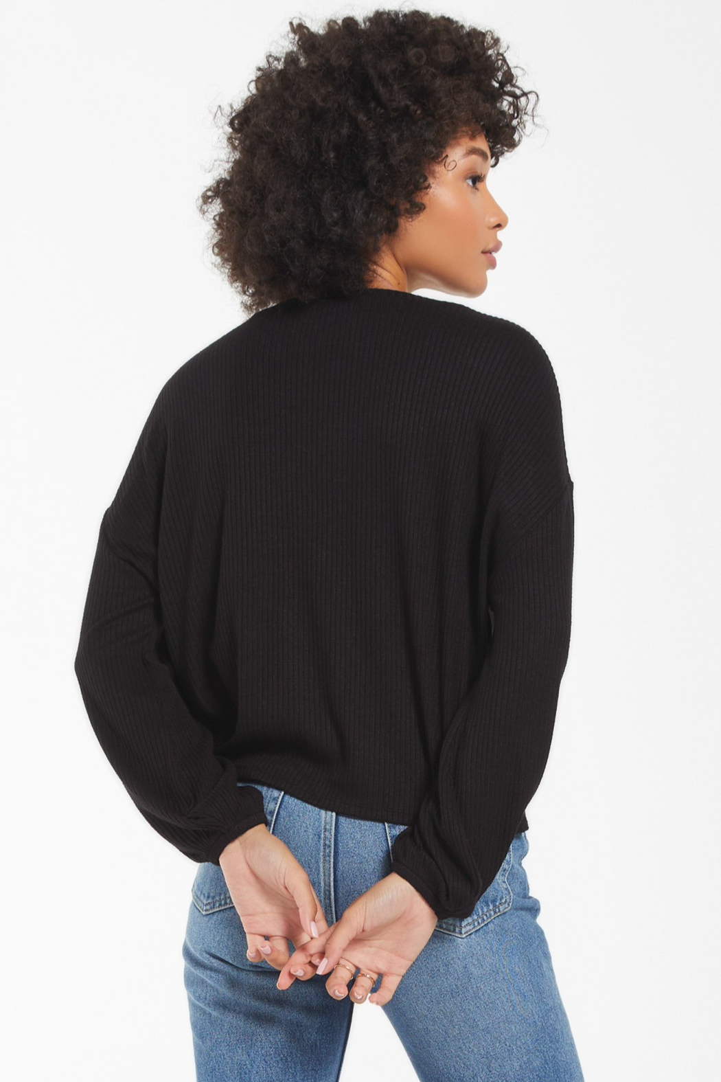 z supply Annie Soft Rib L/S Top - Side Cropped Image