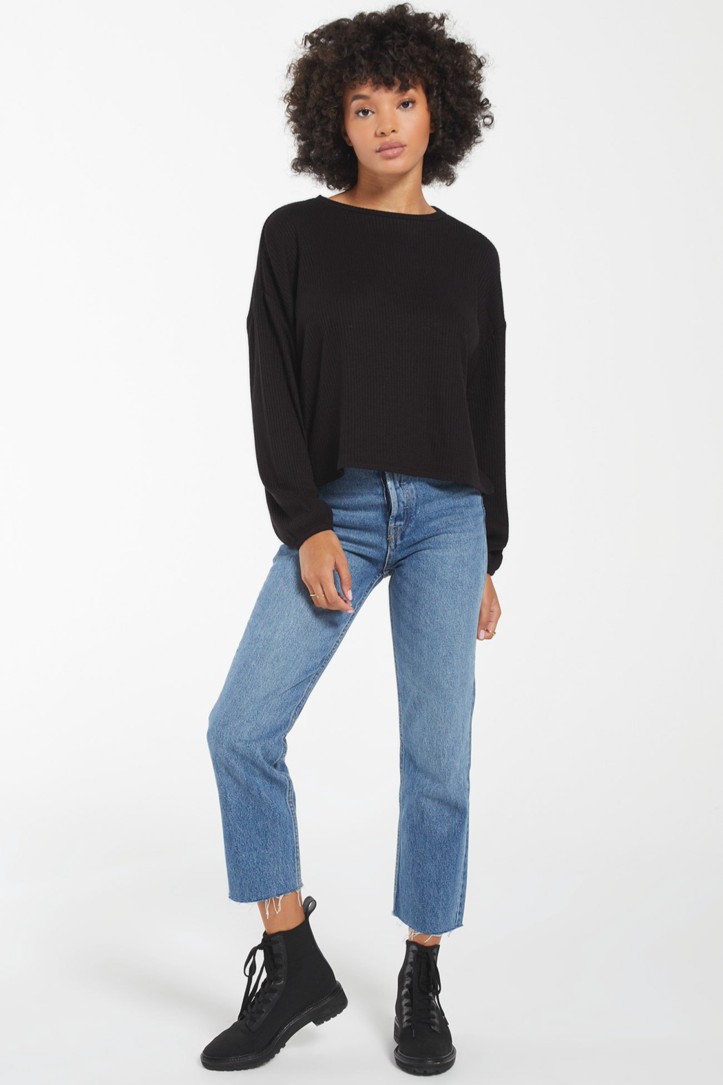 z supply Annie Soft Rib L/S Top - Back Cropped Image