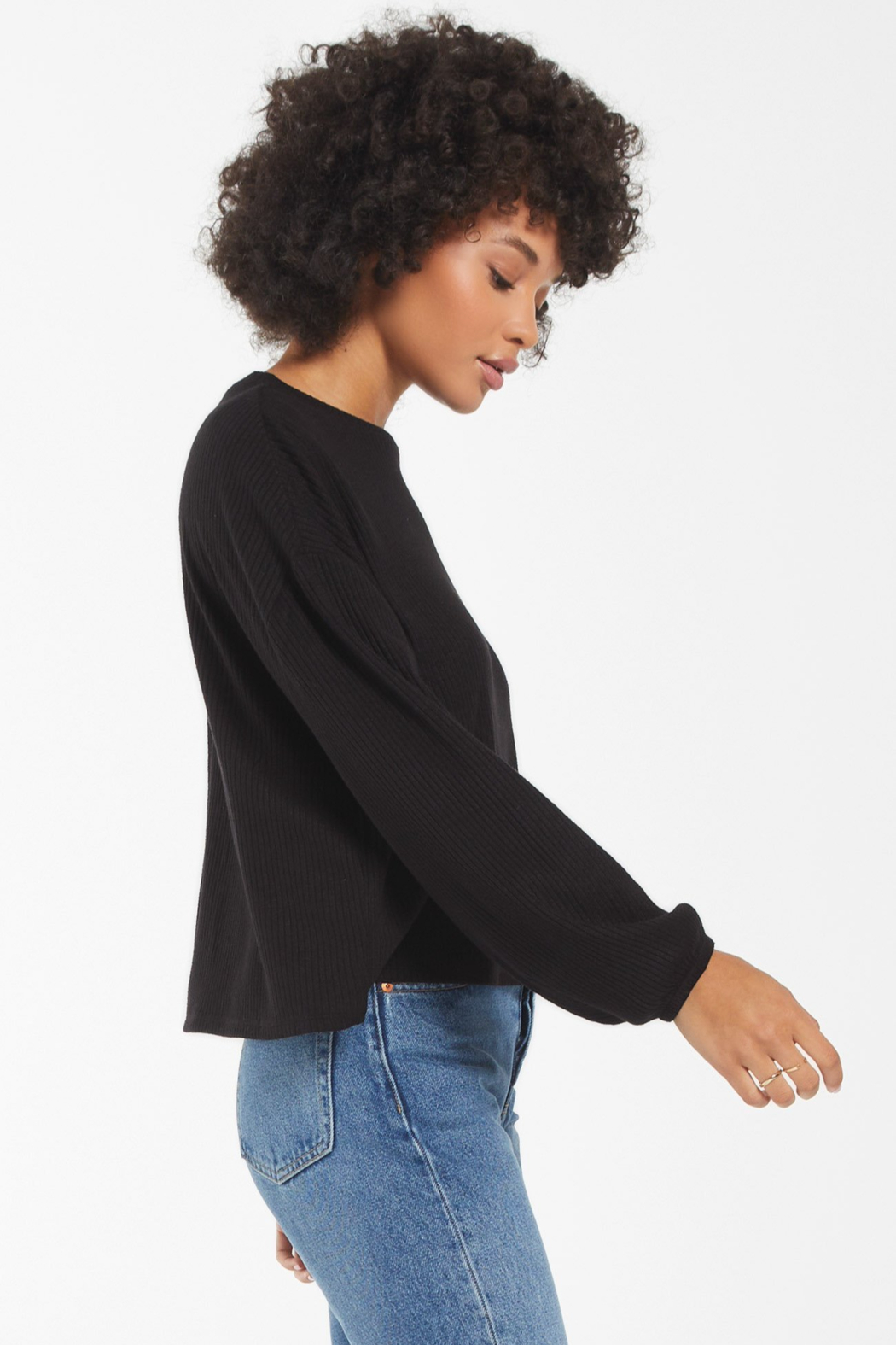 z supply Annie Soft Rib L/S Top - Front Full Image