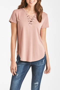 Shoptiques Product: Lace-Up V-Neck Top
