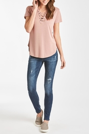 Another Love Lace-Up V-Neck Top - Front full body