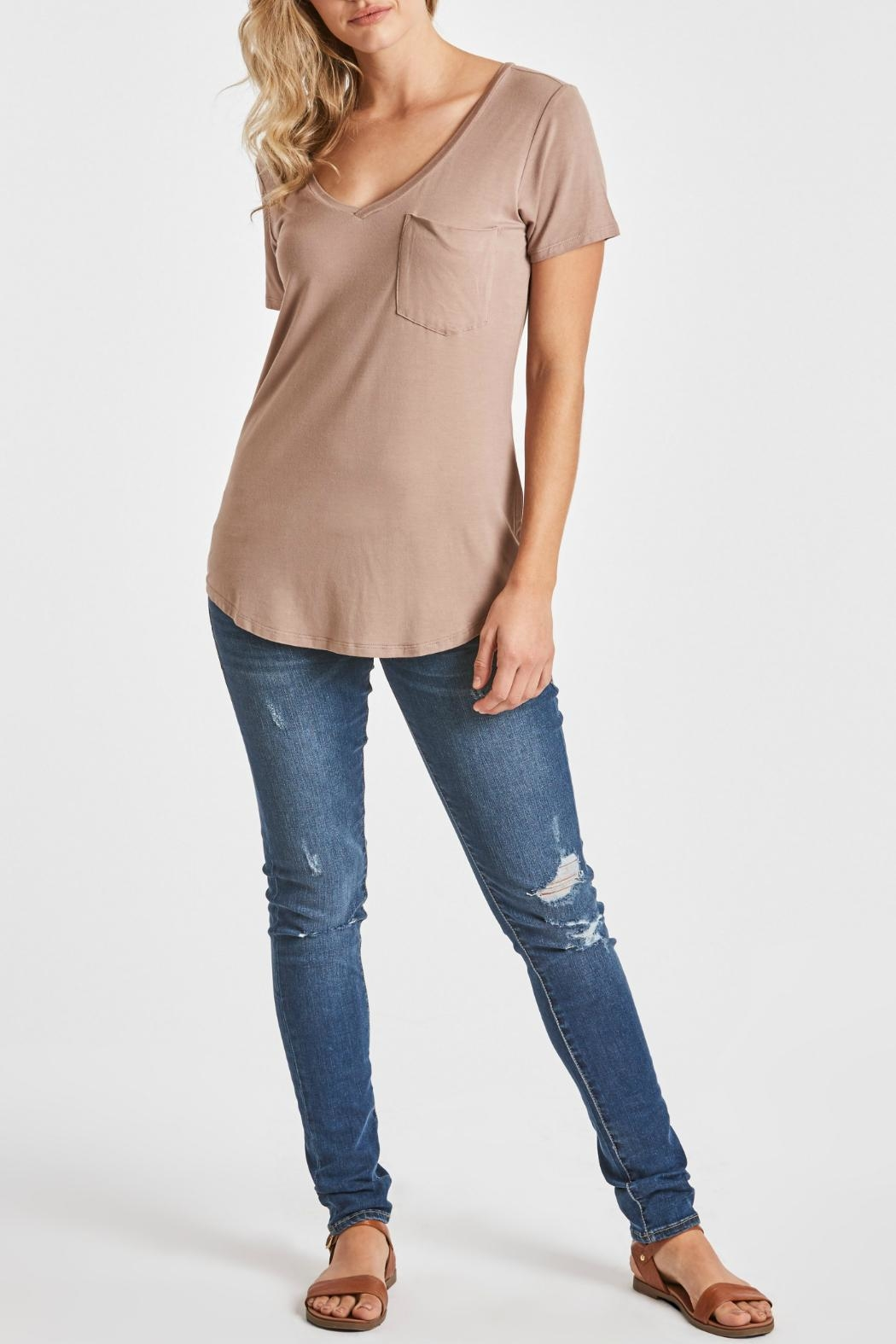 Another Love V-Neck Pocket Top - Front Full Image