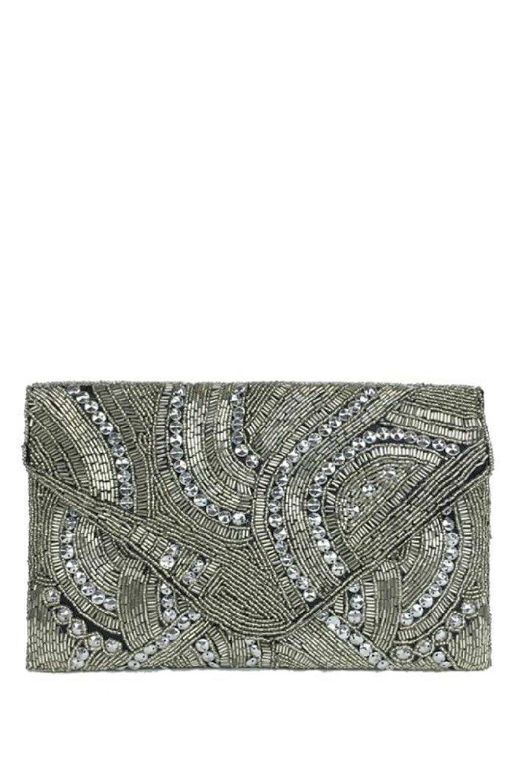 antik kraft Silver Beaded Clutch - Front Full Image