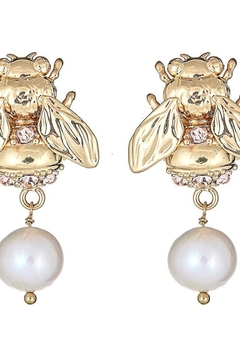 Cristina Sabatini Antique bronze bubble bee pearl earrings - Alternate List Image