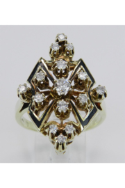 Margolin & Co Antique Diamond Ring Black Enamel Ring Vintage Ring Estate 14K Yellow Gold Size 10 - Product Mini Image