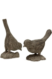The Birds Nest ANTIQUE GRAY CARVED FINCHES-2 PIECE FIGURINE SET - Product Mini Image