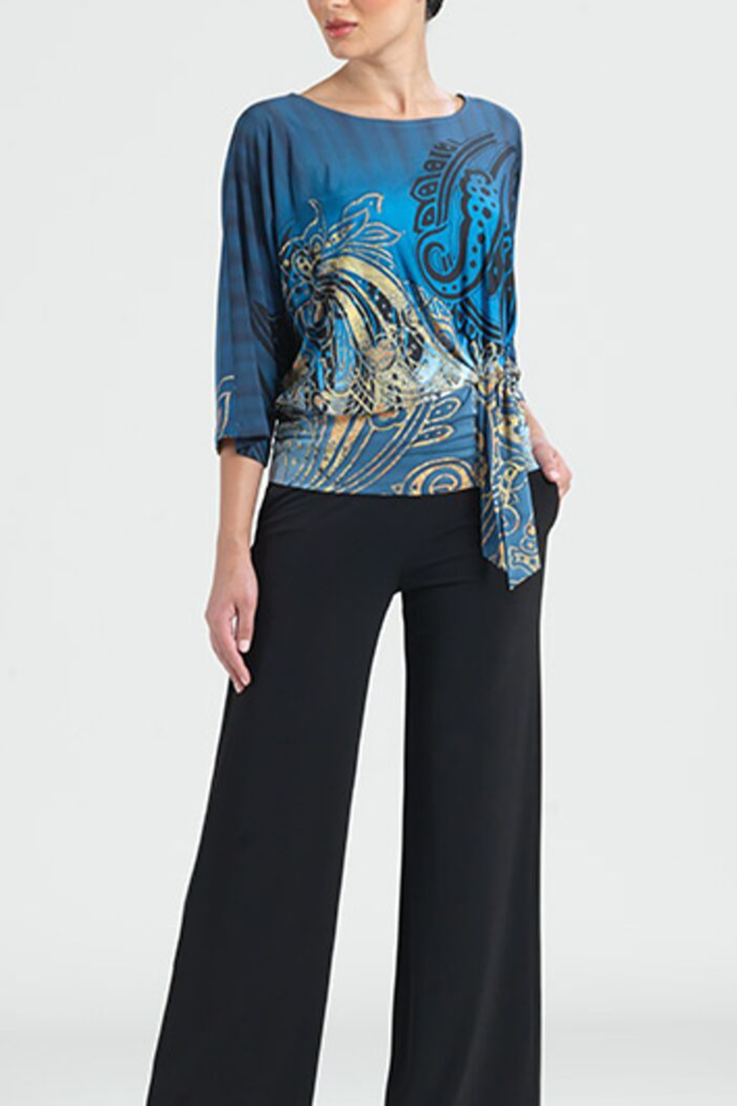 Clara Sunwoo Antique Paisley Print Side Tie Top - Front Cropped Image