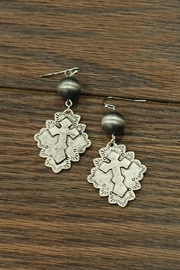 JChronicles Antique-Silver-Cross Earrings With-Western-Pearl - Product Mini Image