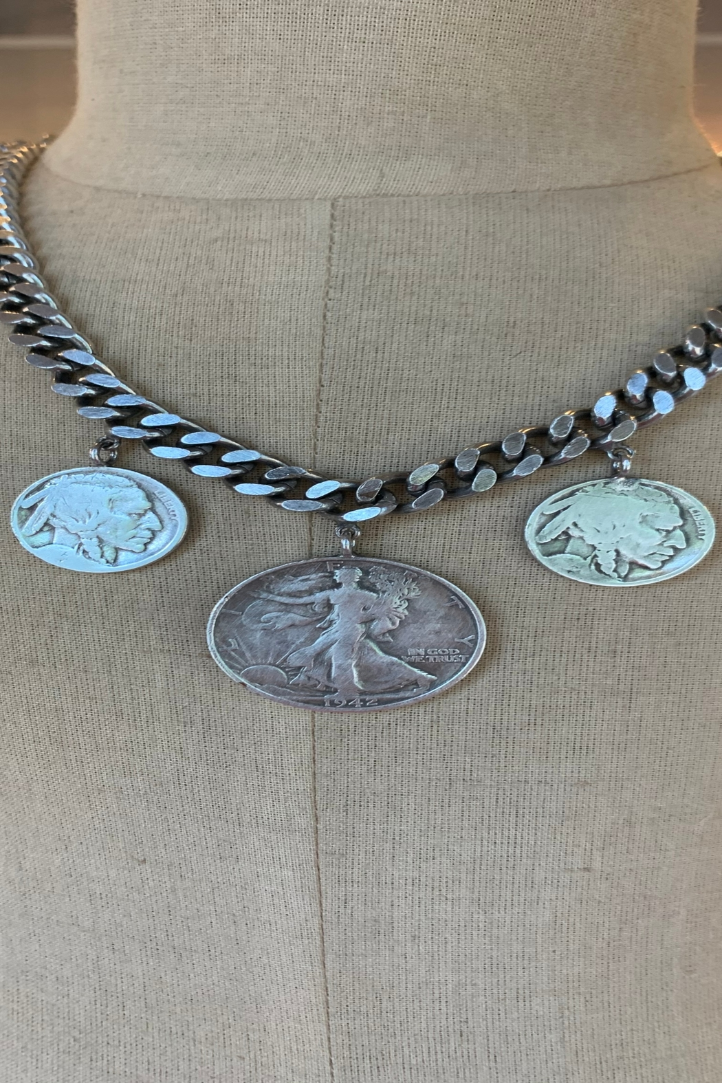 Janis Savitt Antique silver necklace with three coins - Front Cropped Image