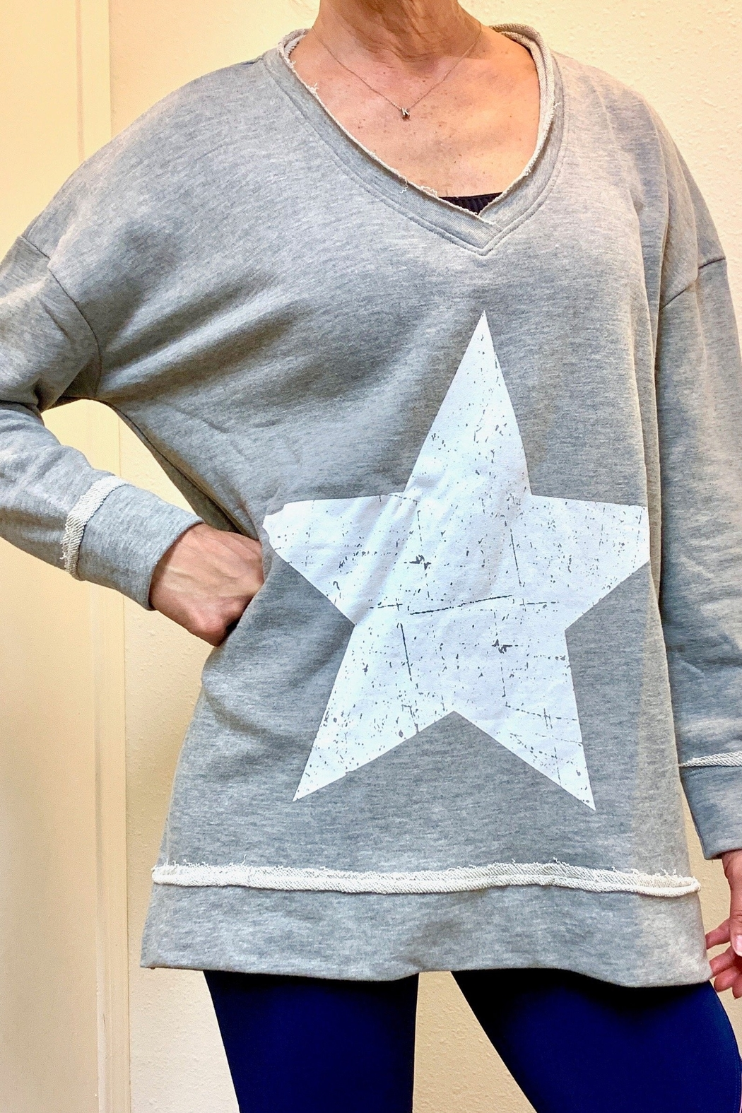 Mono B Antique Star Longline Sweatshirt - Front Full Image