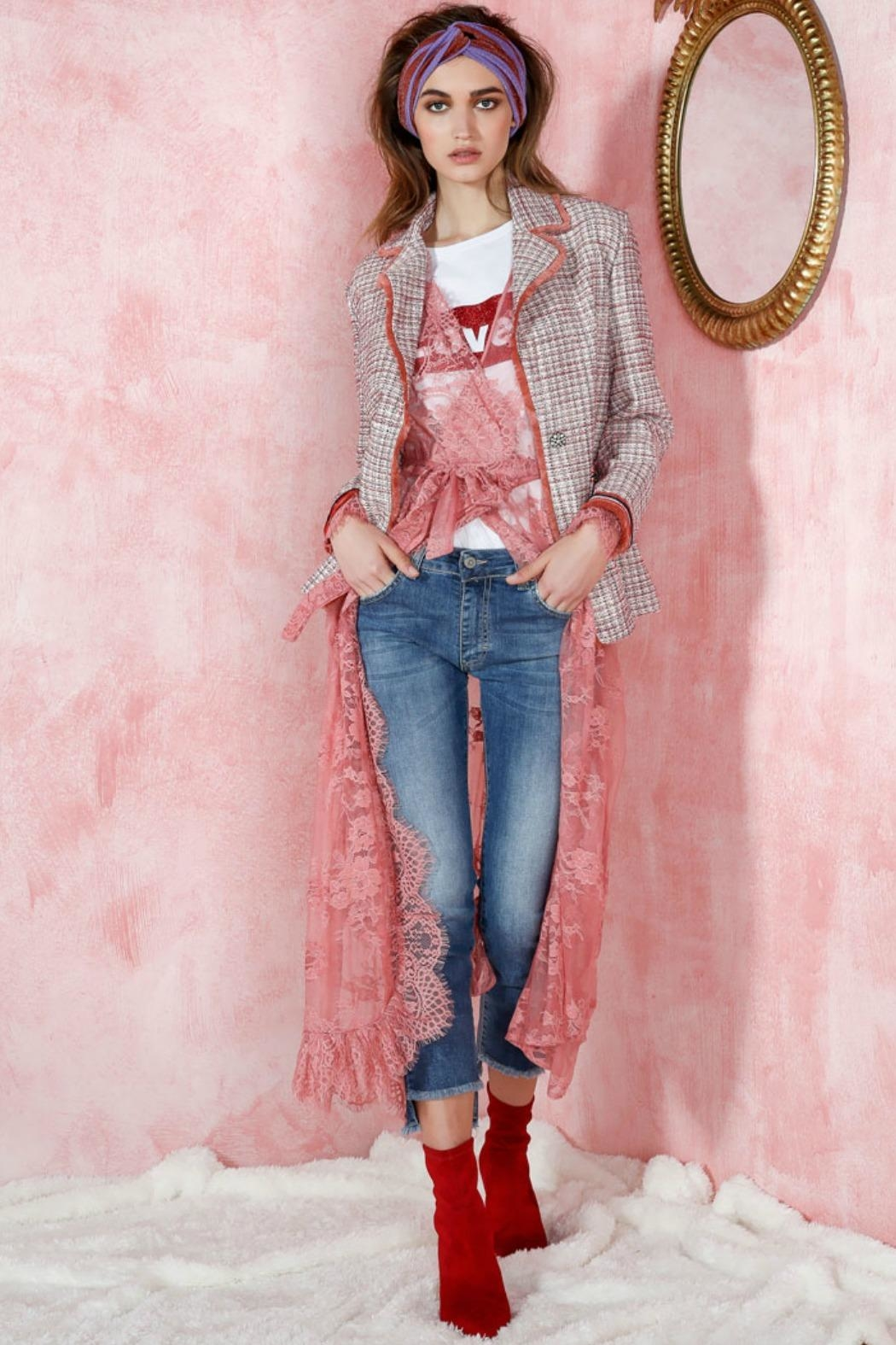 Dixie Blush Tweed Blazer - Front Cropped Image