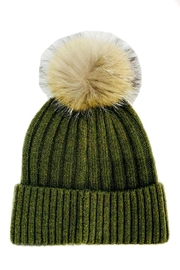 ANTONELLO SERIO Olive Knit Beanie - Front cropped