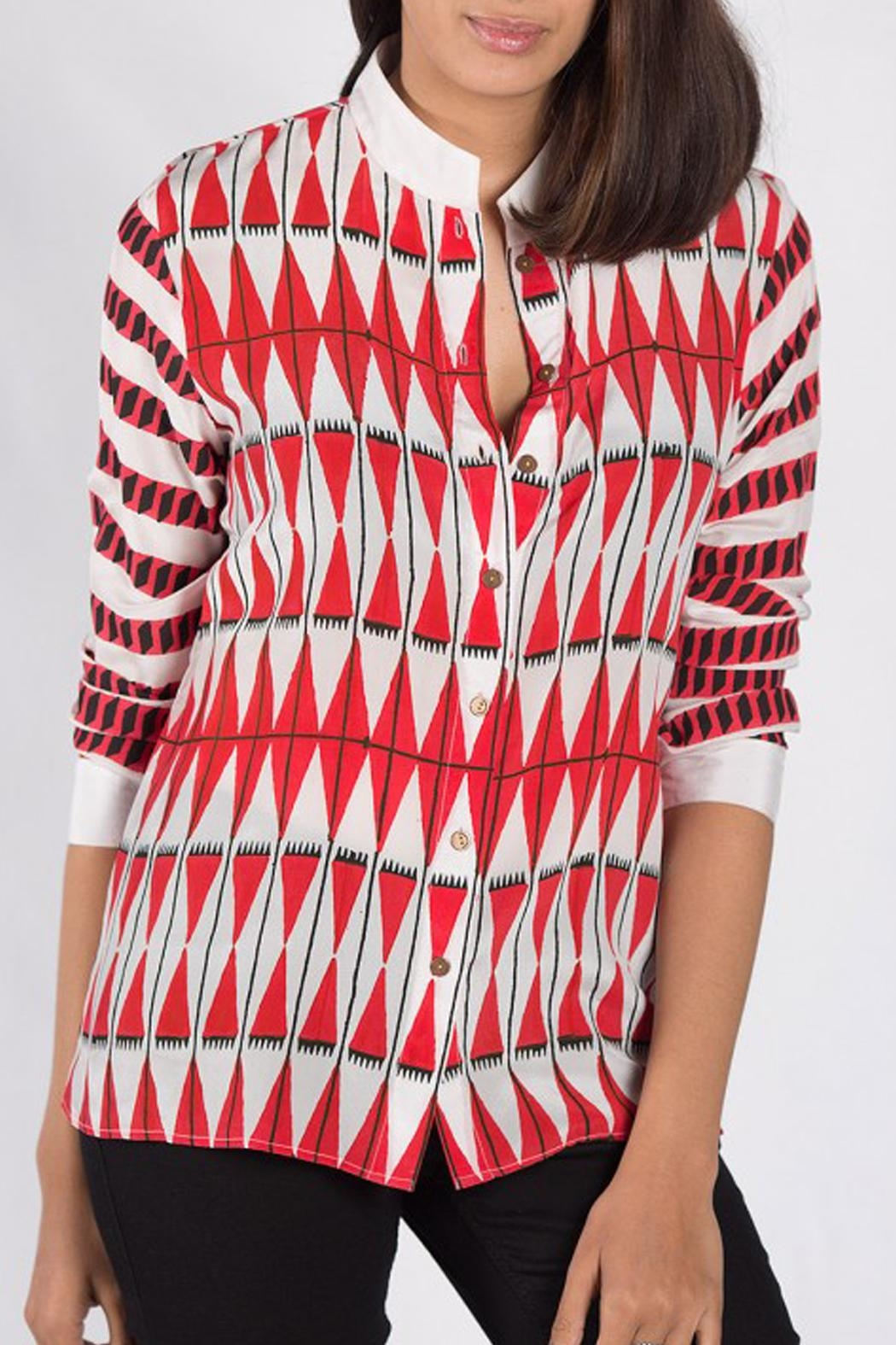 Anupamaa Red Kashmir Shirt - Front Cropped Image