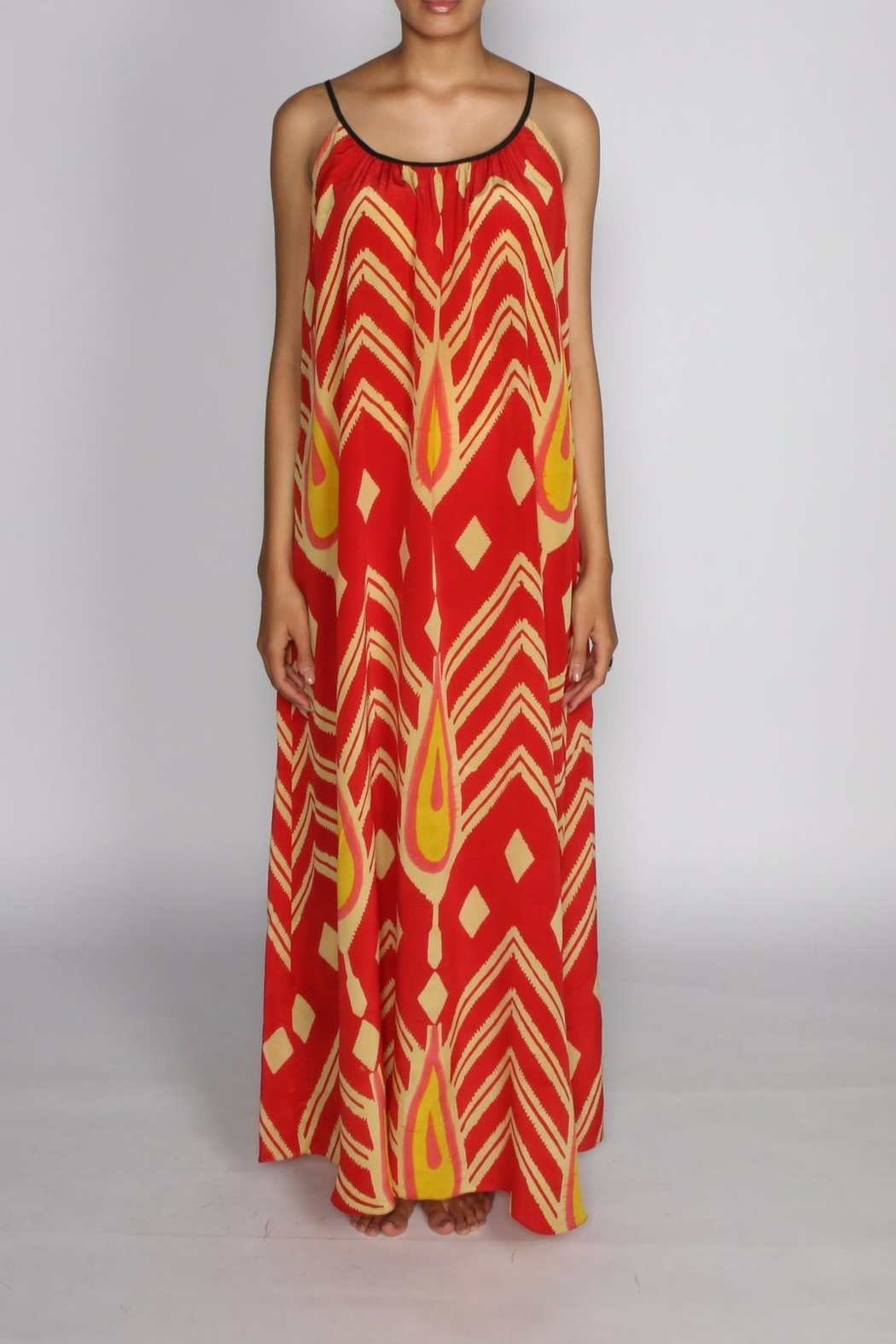 Anupamaa Red String Silk Maxi - Side Cropped Image