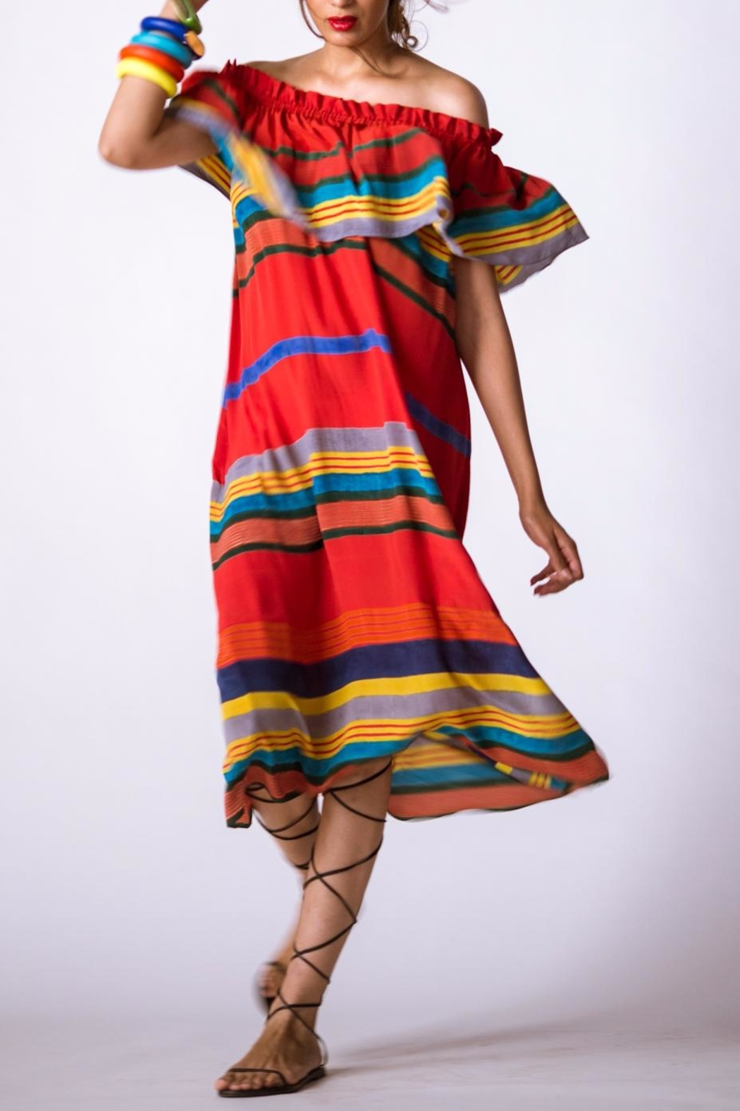 Anupamaa Sindoor Stripe Dress - Main Image