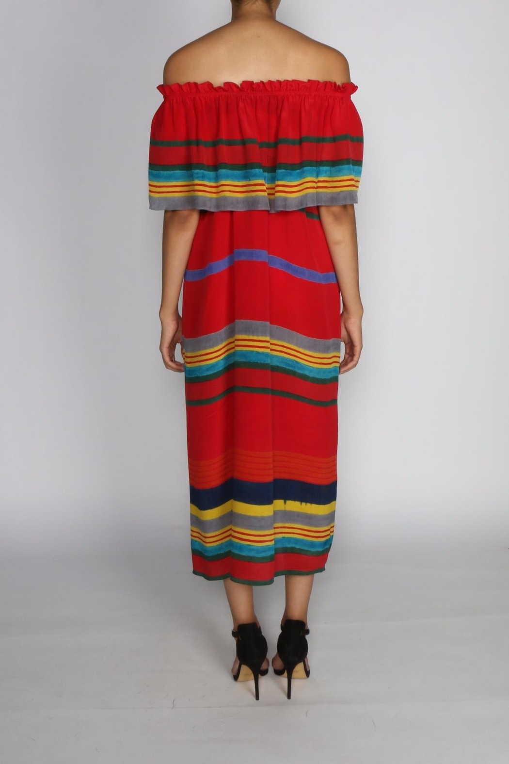 Anupamaa Sindoor Stripe Dress - Side Cropped Image