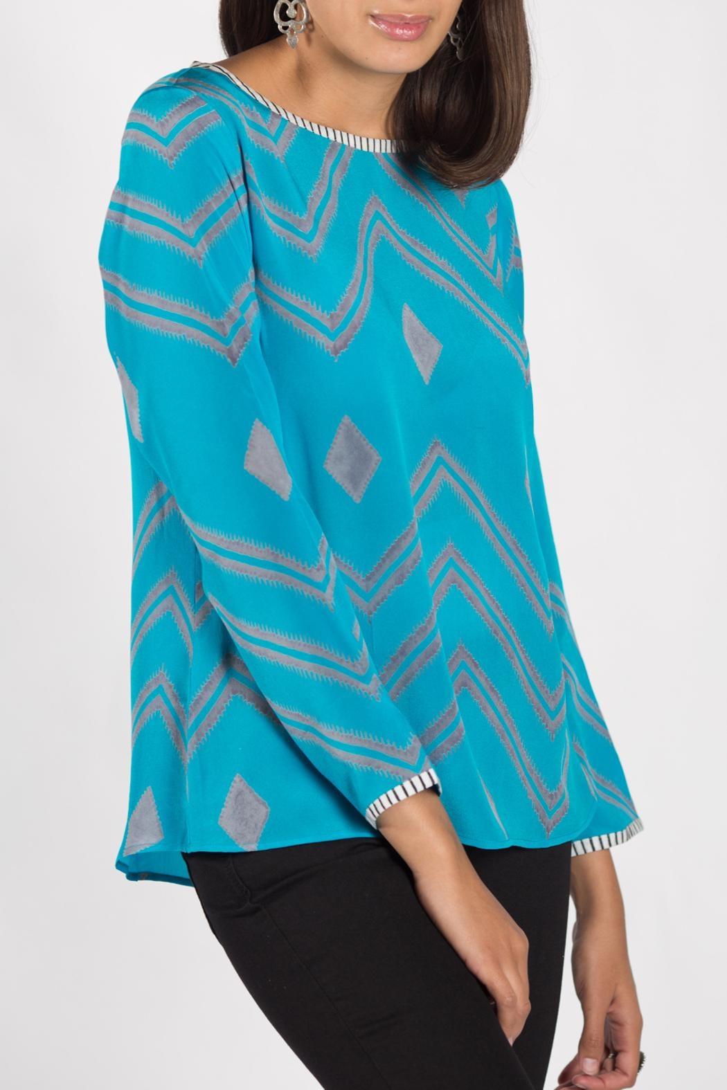 Anupamaa Turquoise Sarine Top - Front Cropped Image