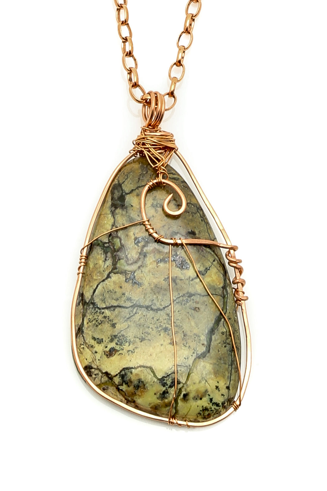 Anvil Creations Yellow Turquoise Copper Necklace - Front Full Image