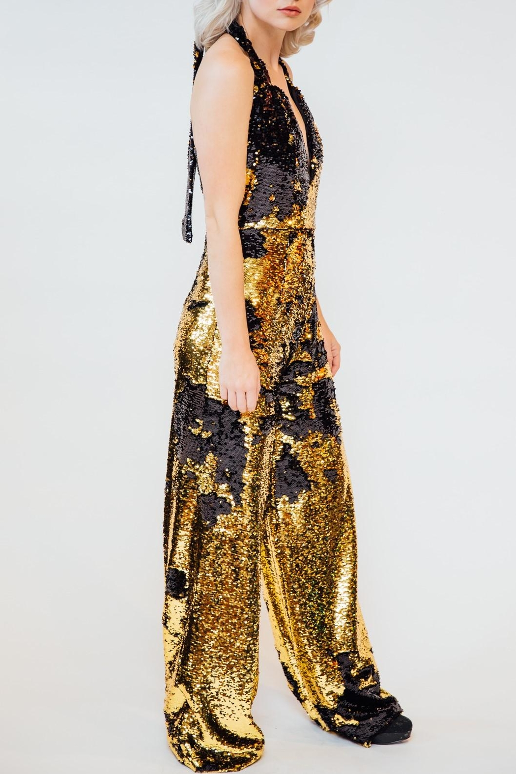 Any Old Iron Flip Sequin Jumpsuit - Front Full Image