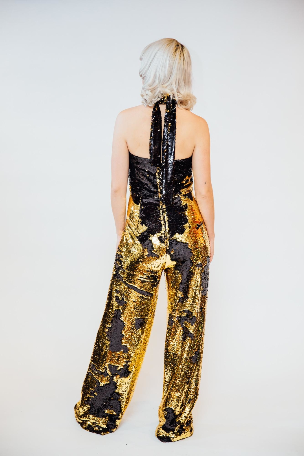 Any Old Iron Flip Sequin Jumpsuit - Side Cropped Image