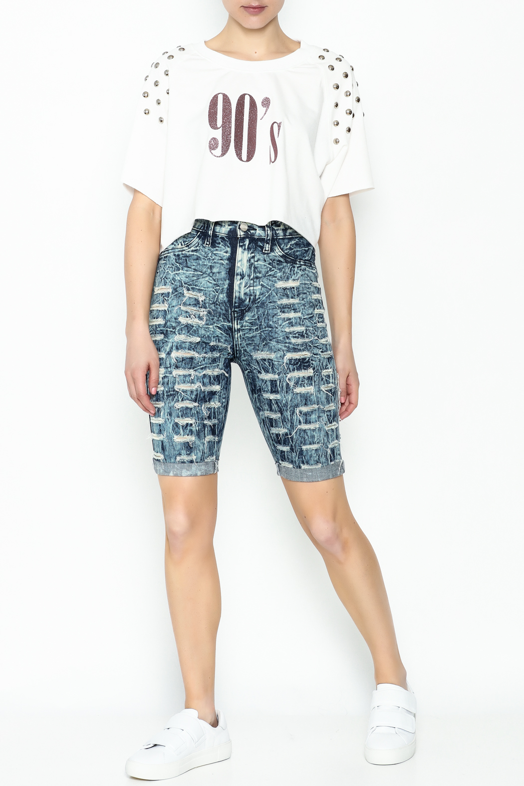 Aphrodite High Waist Distressed Shorts - Side Cropped Image