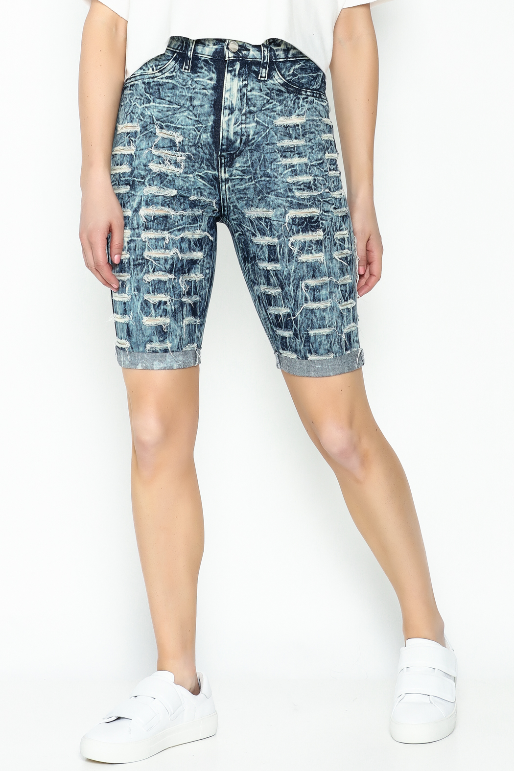 Aphrodite High Waist Distressed Shorts - Main Image