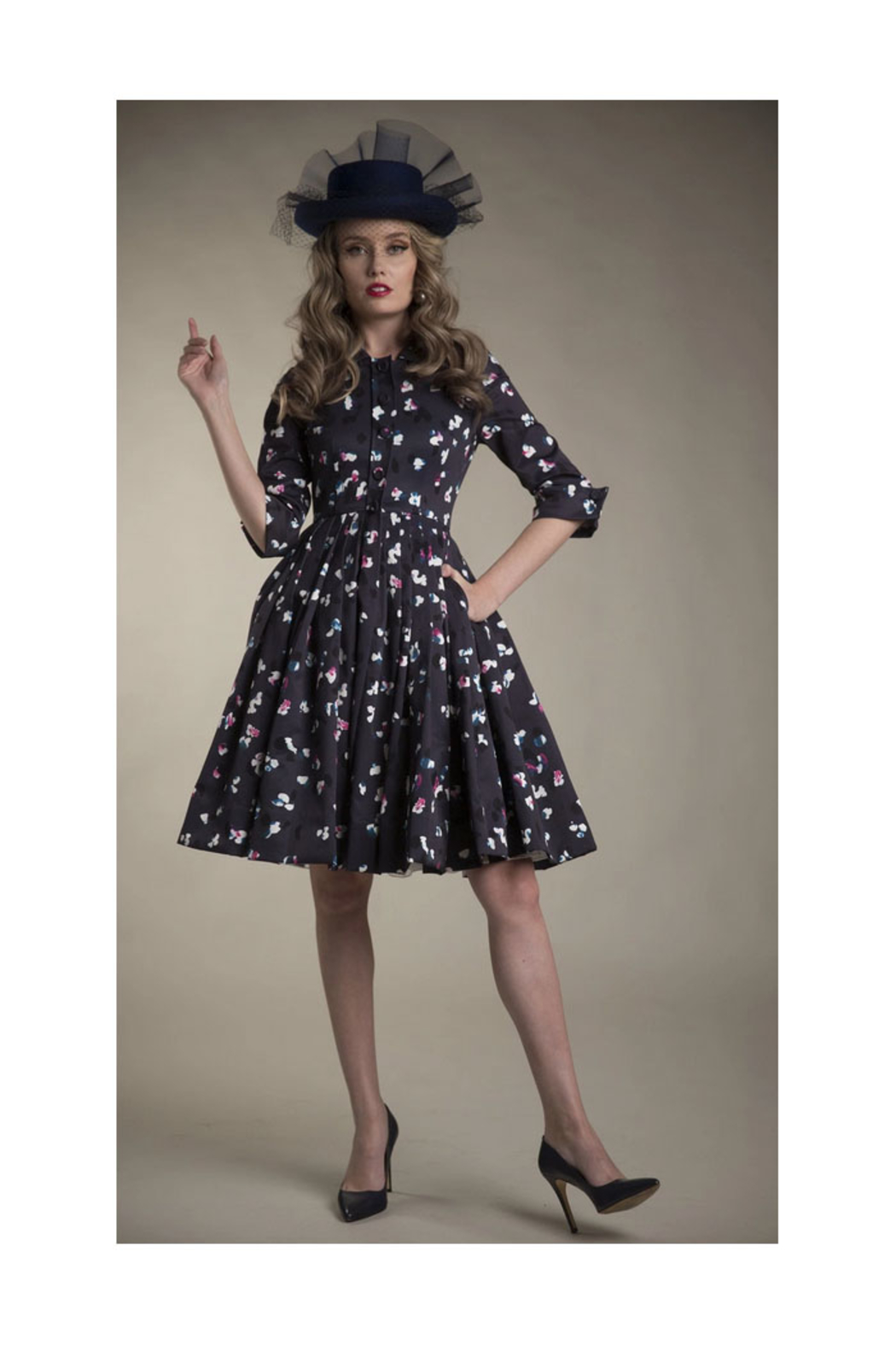 Apparalel Printed Faille Party Dress - Front Full Image