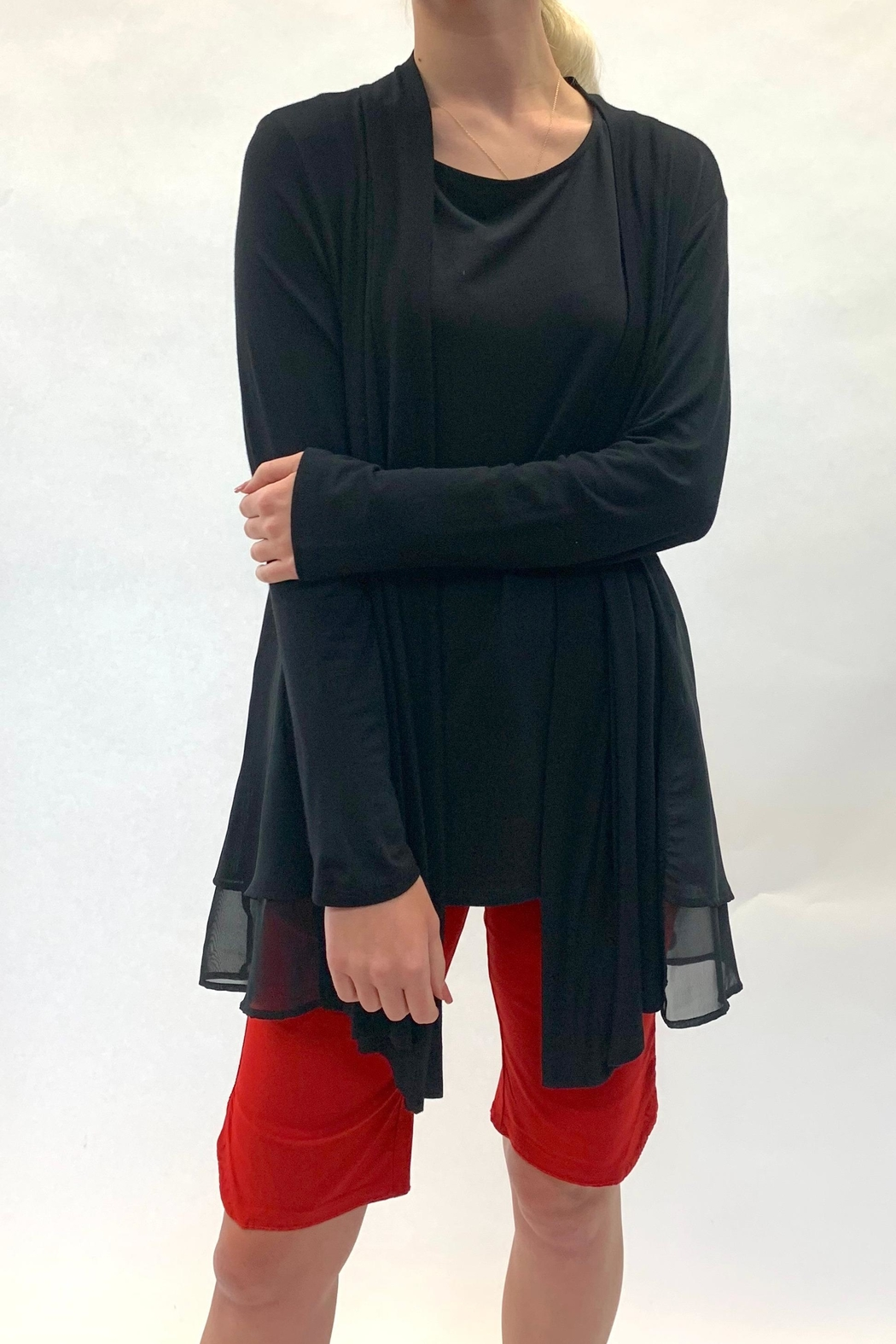 Apparel Love Black Cardigan - Front Cropped Image