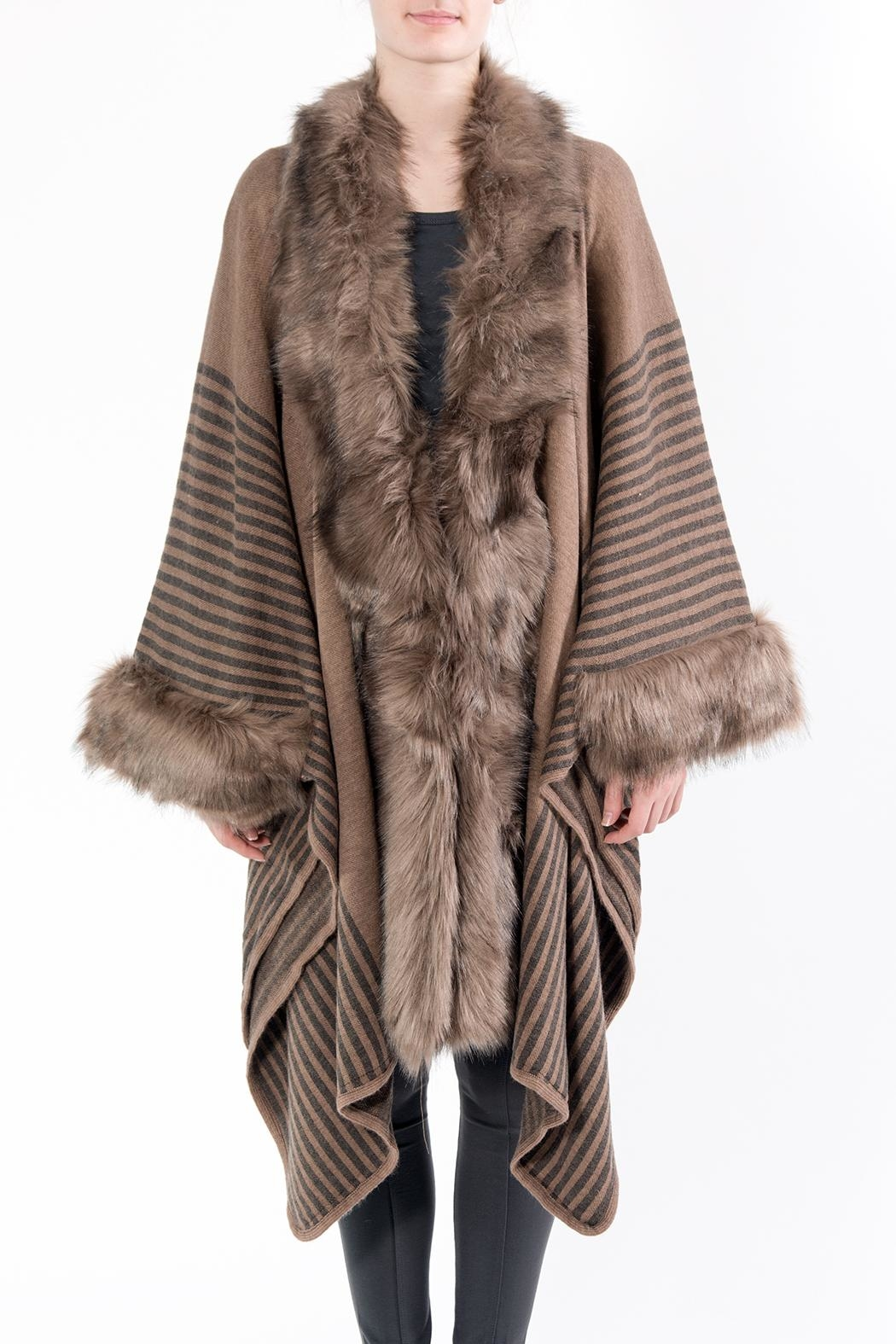 Apparel Love Taupe Faux Fur Cape - Front Cropped Image
