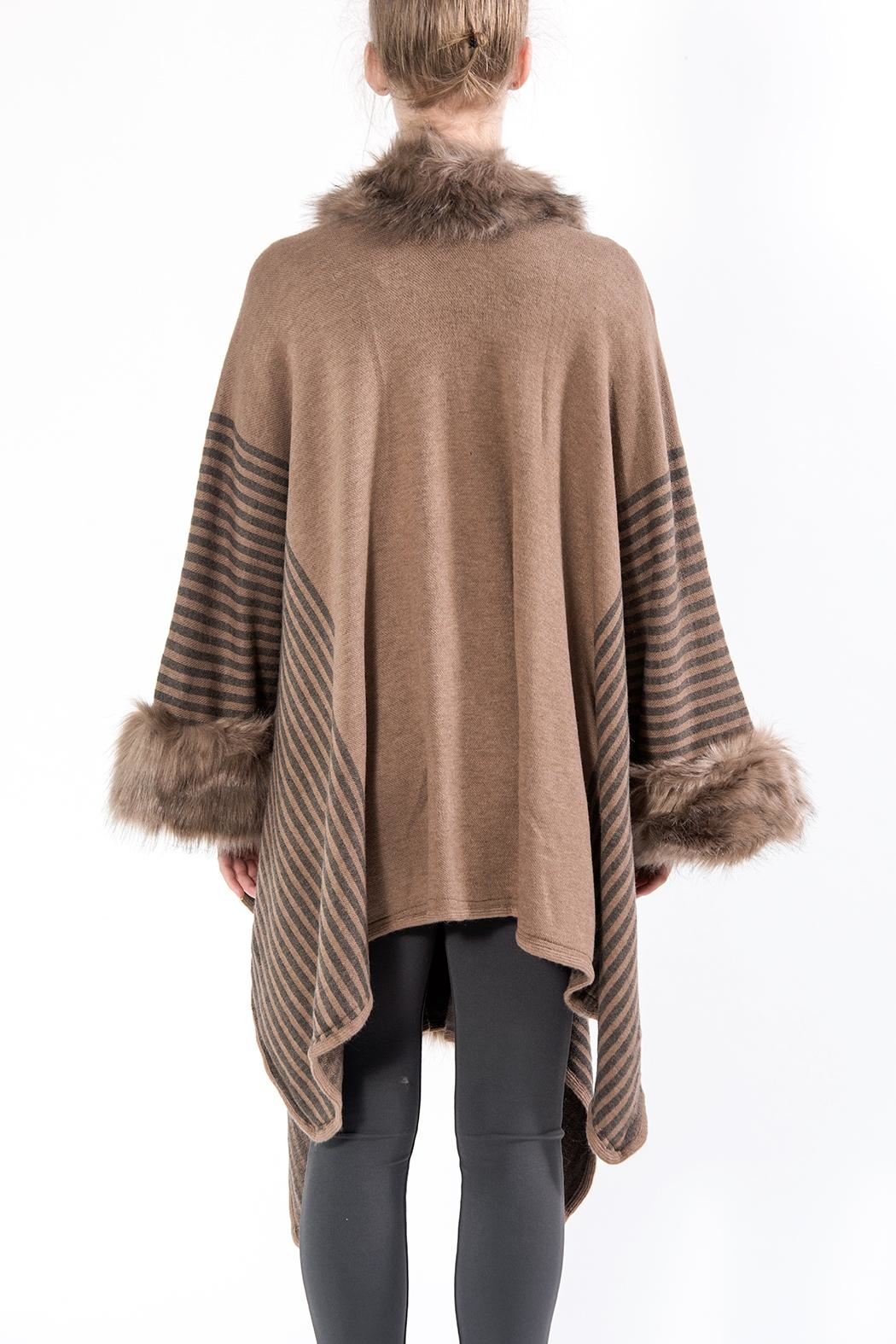 Apparel Love Taupe Faux Fur Cape - Front Full Image
