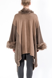 Apparel Love Taupe Faux Fur Cape - Front full body