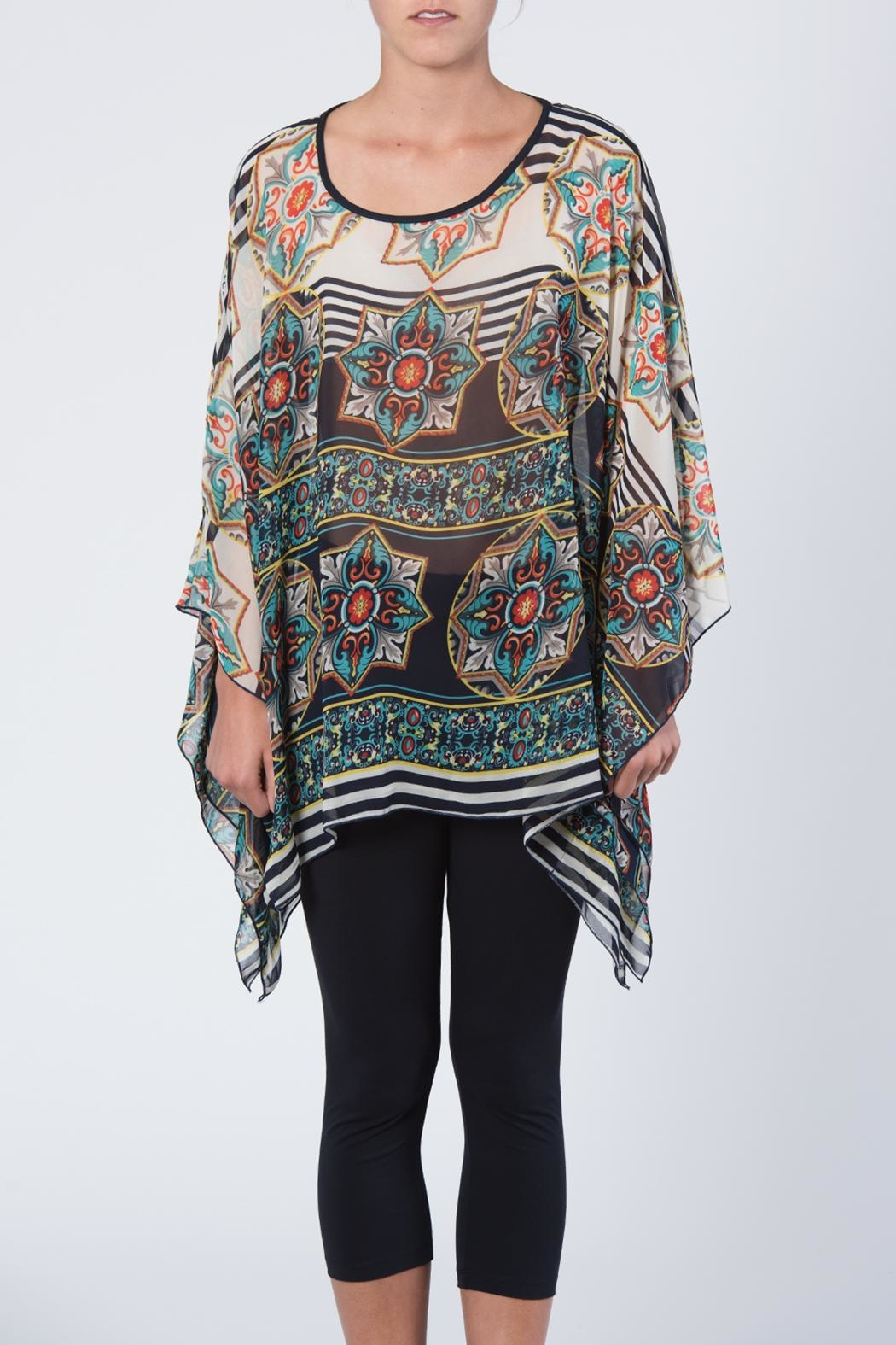 Apparel Love Multicolored Print Tunic Top - Front Cropped Image