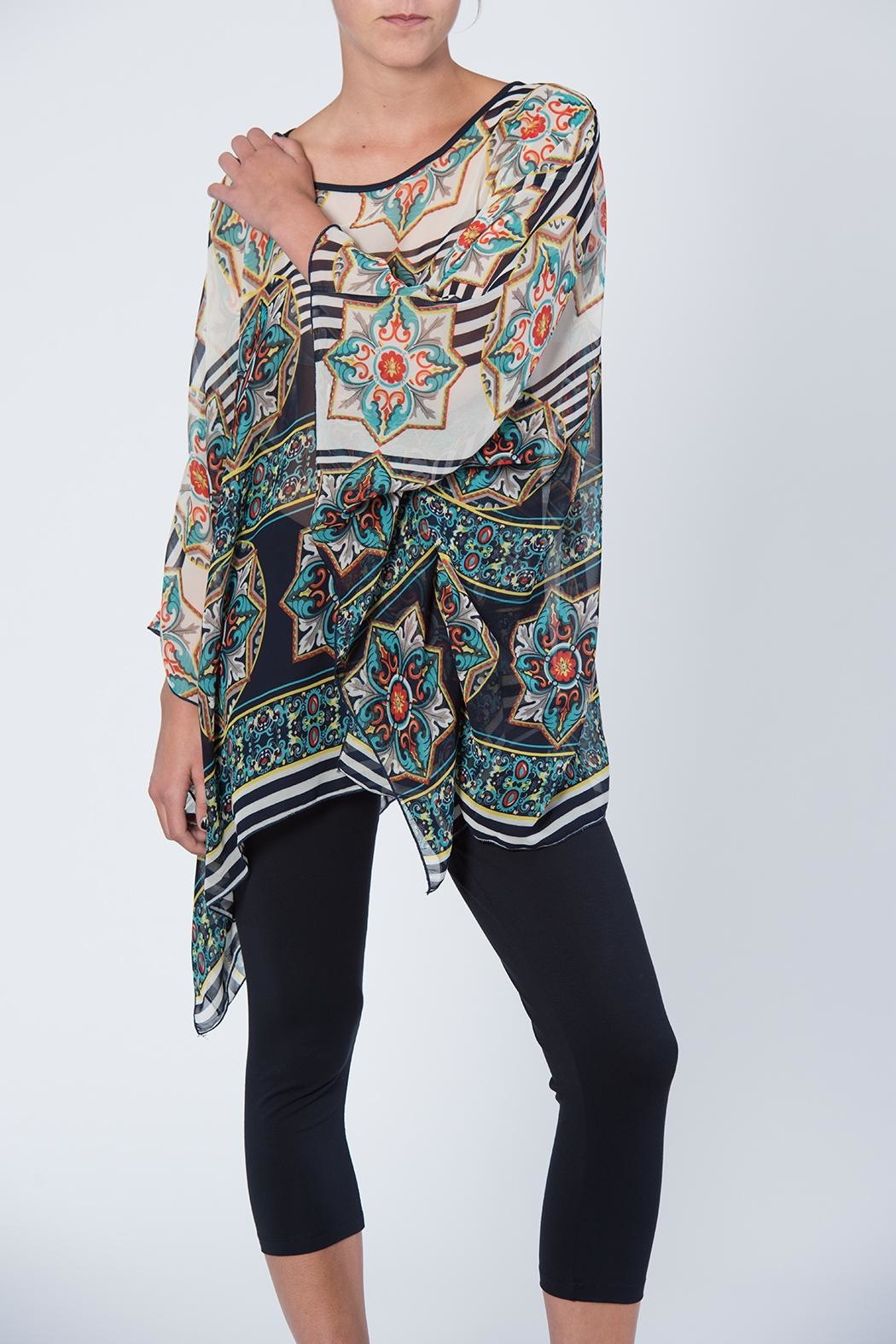 Apparel Love Multicolored Print Tunic Top - Side Cropped Image