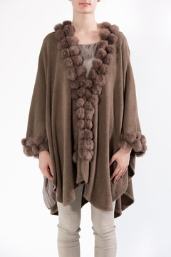 Apparel Love Pompom Poncho Taupe - Product List Image