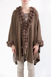 Apparel Love Pompom Poncho Taupe - Front cropped