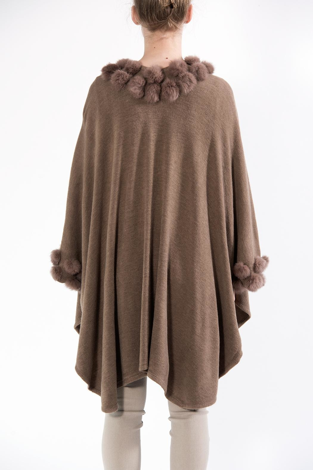 Apparel Love Pompom Poncho Taupe - Front Full Image