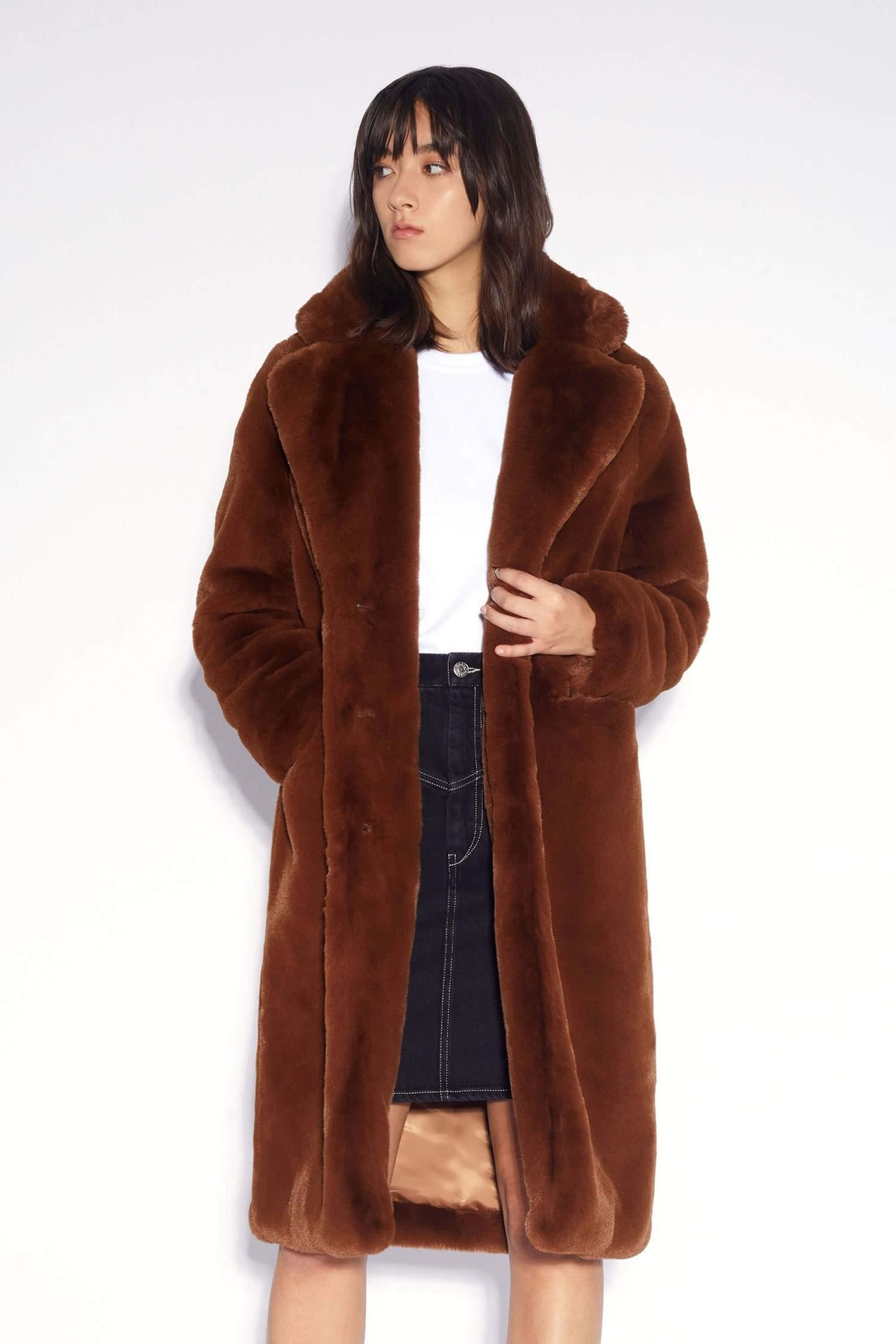 Apparis Laure Faux-Fur Coat - Front Full Image