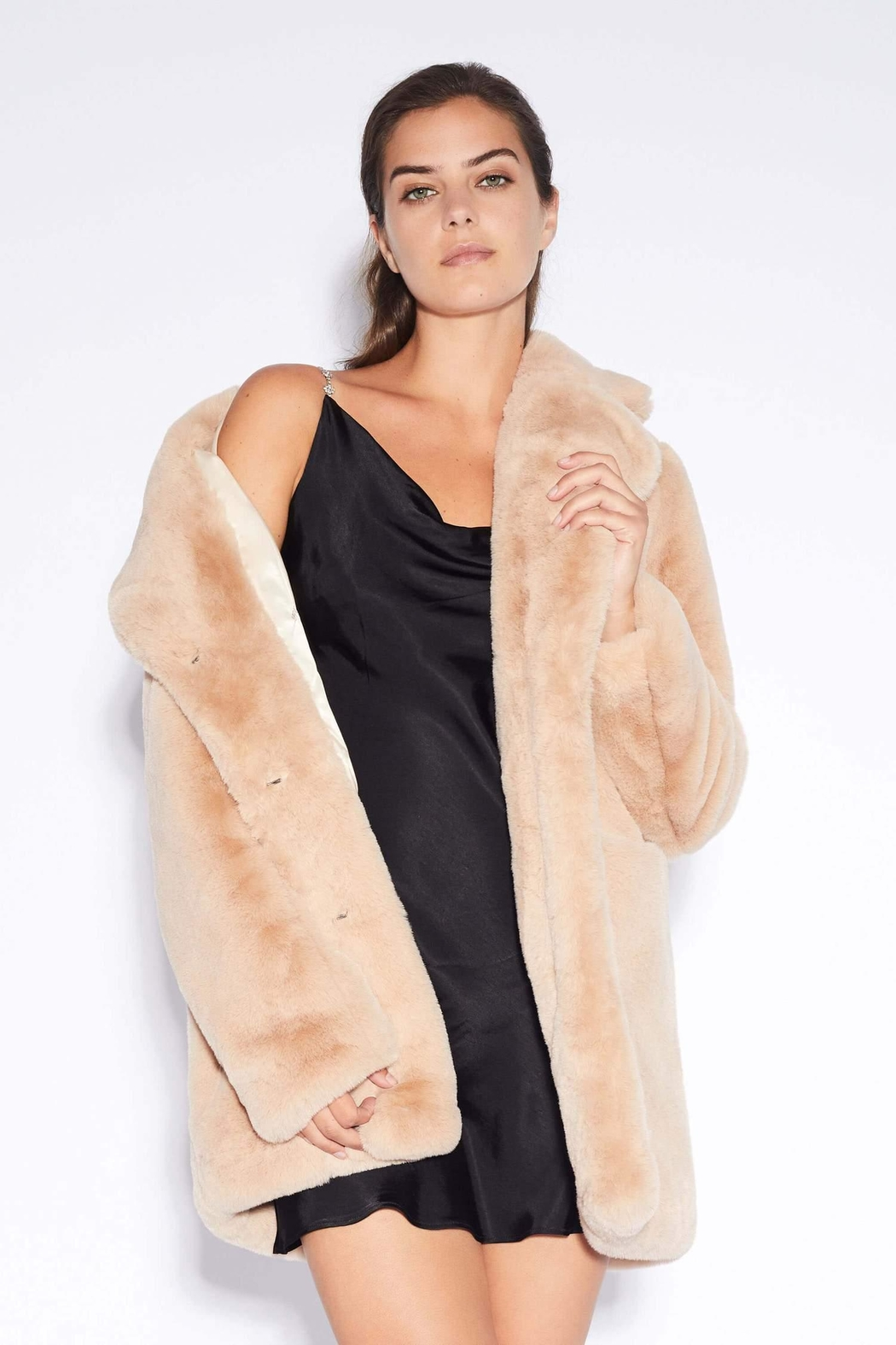 Apparis Sophie Faux-Fur Coat - Side Cropped Image
