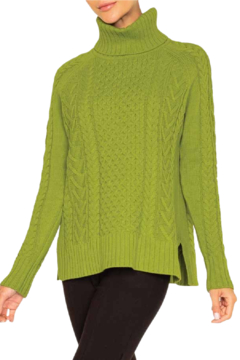 Alison Sheri  Apple Cable Knit Sweater - Product List Image